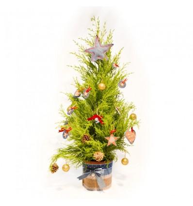Árbol de navidad natural decorado