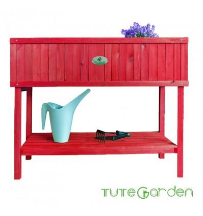 Mesa de cultivo madera roja 100x40x84 cm